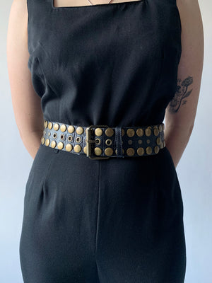Black Leather Studded Belt