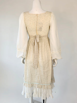 1970's Gunne Sax Pastel Calico Prairie Dress
