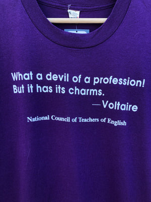 Purple Voltaire Teaching Quote Tee - L