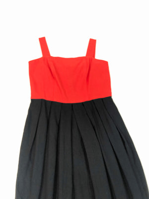 Red & Black Cotton Dress - S