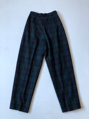 Wool Navy High Waist Trousers