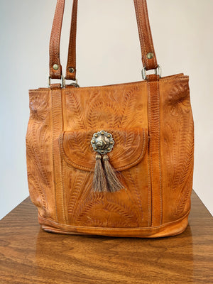 Tooled Leather Tote w/ Horse Embellishment