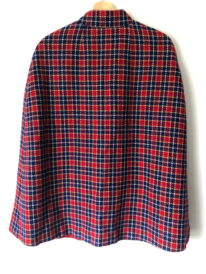Beautiful Mid-Century Red, White & Blue Plaid Cape - S