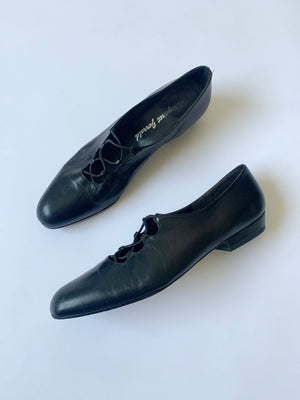 Black Leather Ballet Flats - 8.5
