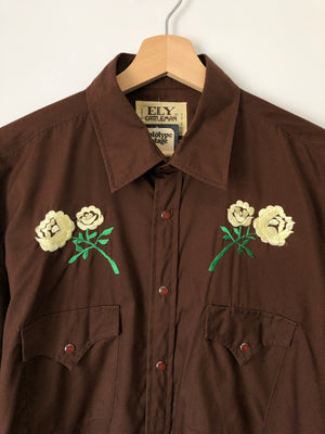1970's Brown Pearl Snap w/ Embroidered Yellow Roses - L