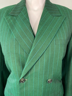 Green Pinstriped 3-Piece Suit