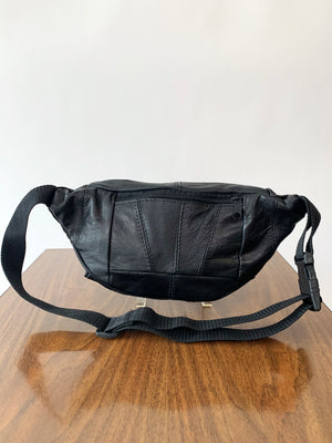 Black Leather Y2K Fanny Pack