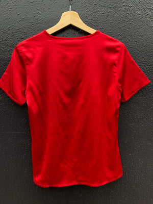 Red Hot Shiny Silk Tee - S