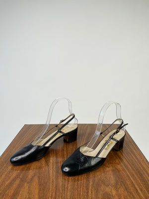 Black Ferragamo Slingback Pumps