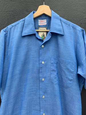 Blue 60's Short Sleeve Shirt - L