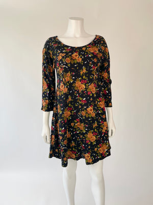 Black & Brown Floral Scoop-Neck Dress