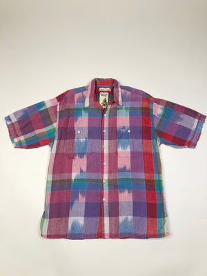 80's Madras Plaid Button Up - L