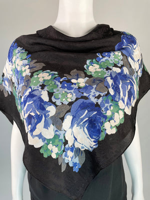Blue Floral Nipon Silk Scarf