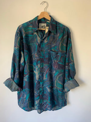 Awesome 90's Silk Print Button Up - M