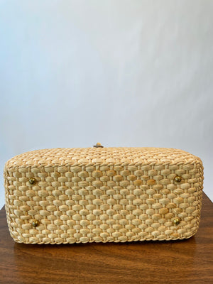 1970's Straw Handbag w/ Leather Details