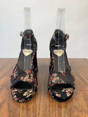 Black Cherry Blossom Platform Sandals