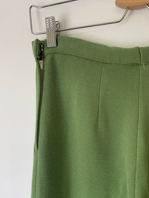High Waisted Moss Green Knit Trousers - M