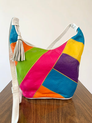 1980's Leather Color Block Bucket Bag