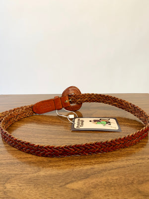 Brown Leather Woven Belt