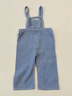 Blue Striped Conductor Kiddo Overalls