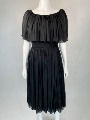Black Cocktail Dress w/ Big Ruffle Neckline