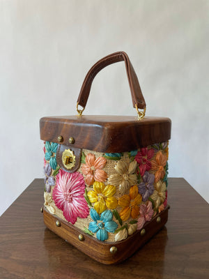 Wood & Raffia Studded Box Purse