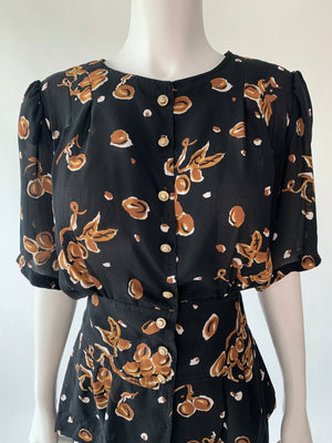 Black Floral Button-Front Peplum Blouse