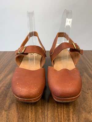 Brown Leather Platform Clogs