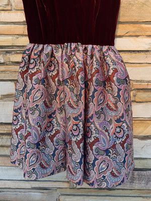 Burgundy Velvet & Shiny Paisley Party Dress - S