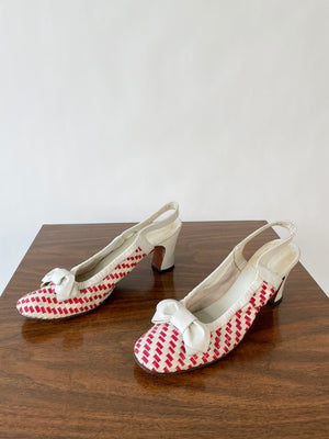 1970's Red & White Leather Heels