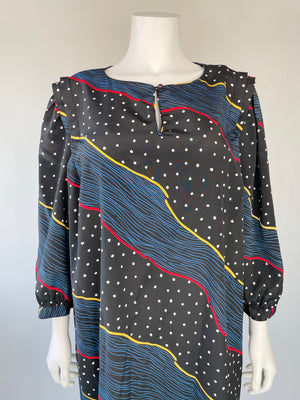 Early 80's Puff Sleeve Silky Dotted Dress
