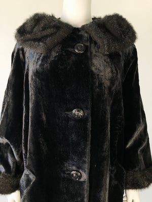 Mid-Century Black Faux Fur Swing Coat