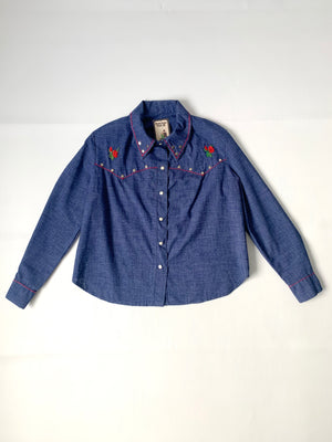 1970's Studded & Embroidered Chambray Jacket - M/L