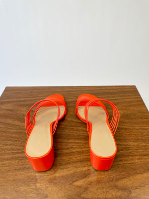 Modern Orange Leather Slide Sandals