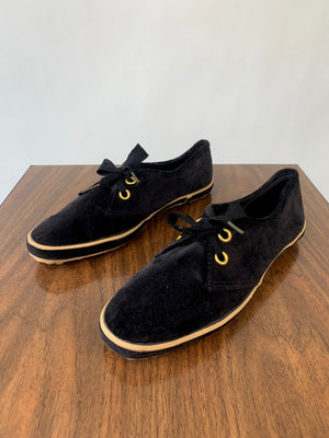Black Velvet Grasshopper Tennis Shoes
