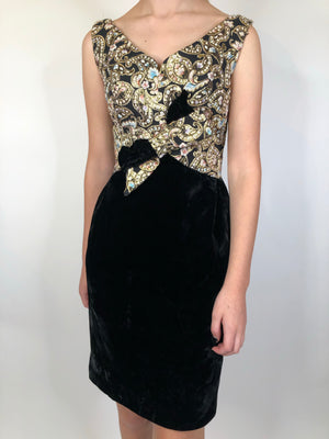 60's Black Velvet & Lurex Dress - XS