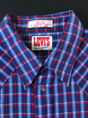 Red, White & Blue Plaid Levi's Pearl Snap -XL
