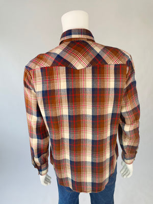 Navy & Chocolate Plaid Flannel Shirt Jacket