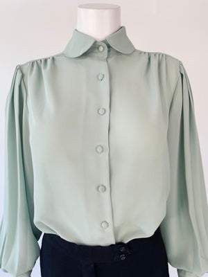 Sheer Sage-Green Balloon Sleeve 80's Blouse