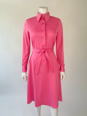 Bubblegum Pink Soft Nylon 1970's Shift Dress