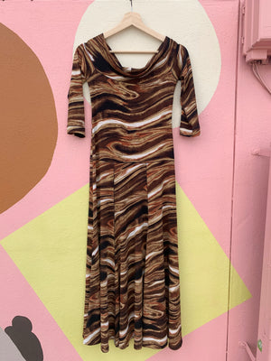 Y2K Slinky Brown Midi Dress - S