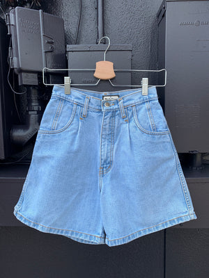 80's High Waisted Denim Shorts - 26
