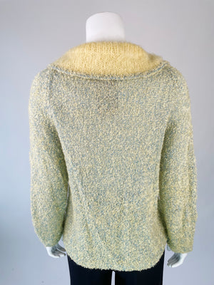 Hand Knit Mid-Century Cardigan w/ Wide Collar & Pockets