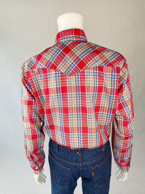 1970's Plaid Western Pearl Snap w/ Metallic Thread
