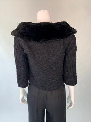 Mid-Century Black Fur-Trimmed Cropped Jacket