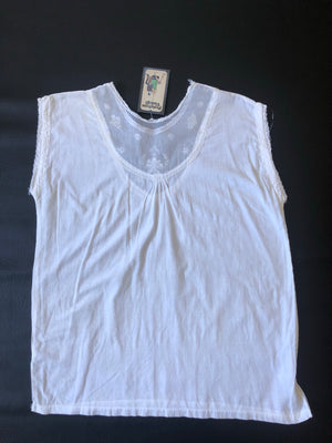 White Cotton Mid-Century Top with Sheer Panel