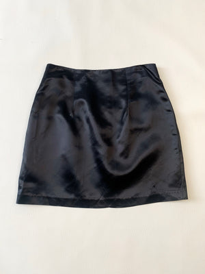 Black Satin A-Line Mini Skirt