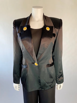 Gorgeous Satin Blazer w/ Gold & Rhinestone Buttons