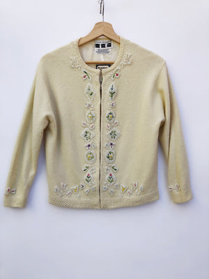 Mid-Century Wool & Angora Beaded Cardigan - S