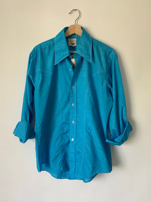 1970's Shiny Blue Western Button Up - L